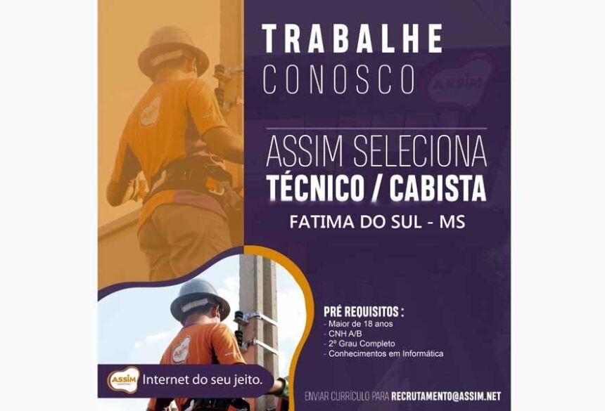 Oportunidade de vaga de emprego para Técnico Cabista em Telecomunicações  para a região de Fátima do Sul-MS