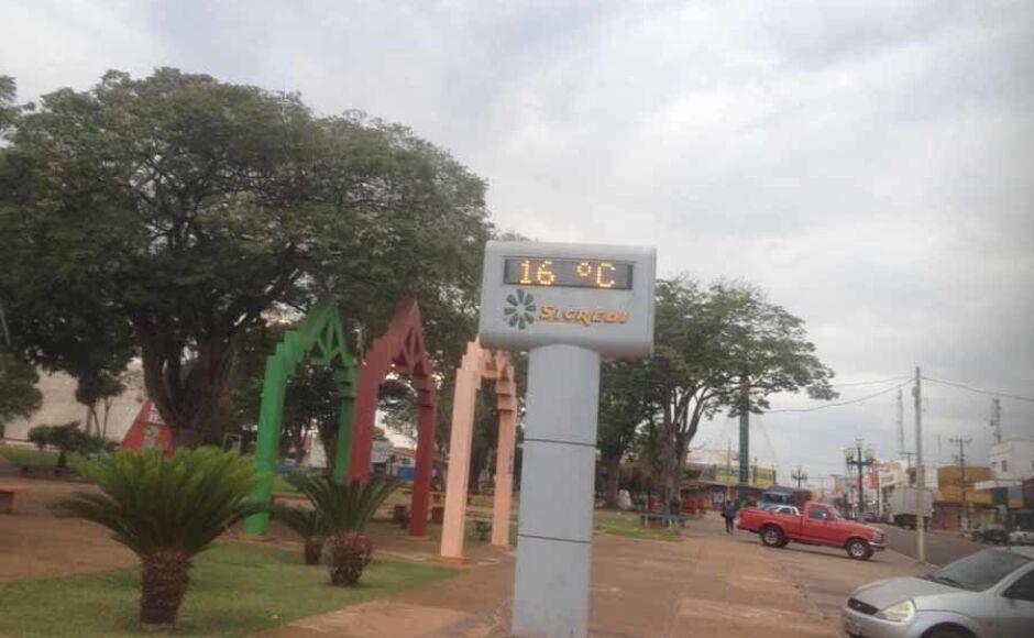Com clima frio metereologia prevê 20 mm de chuva para Fátima do Sul