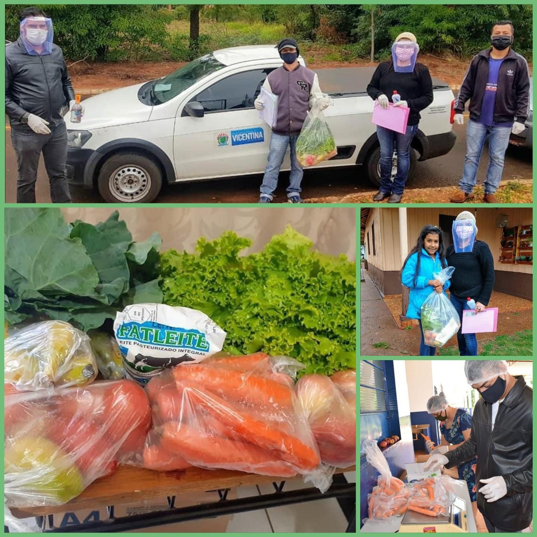Educação entrega Kits com gênero alimentícios aos estudades da Rede Municipal de Ensino em Vicentina