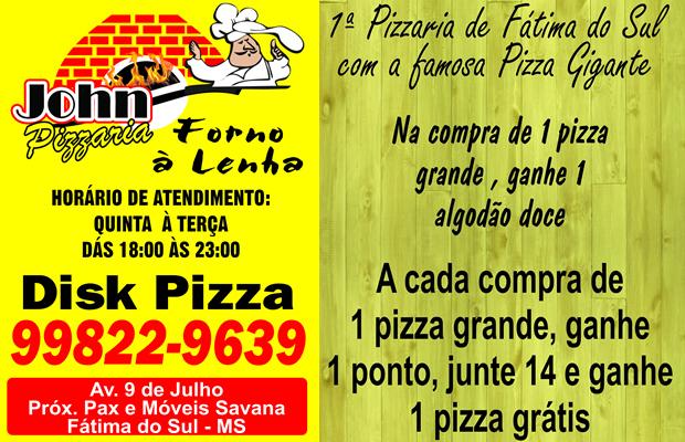 Compre 1 pizza grande e ganhe 1 algodão doce e pontos para trocar na Jhon Pizzaria em FÁTIMA DO SUL