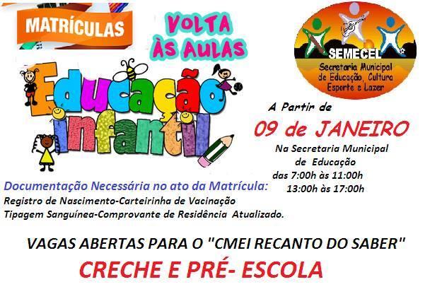 Educação Municipal inicia hoje as matrículas escolares em JATEÍ