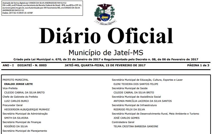 FOTO: DIVULGAÇÃO - Prefeito Eraldo Leite inova lançando Diário Oficial do município em JATEÍ