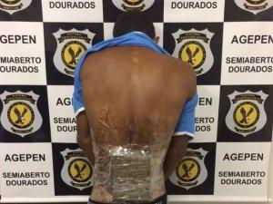 """Detento estava com droga """"adesivada"""" ao corpo (Foto: Divulgação)"""