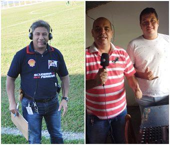 Da esquerda para a direita, Reporter Abraão Silva,<br>Locutor Esportivo Pereira Neto e Diretor de Esportes Wanderlei.