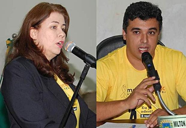 Vereadores Rosani Espindola Barros Penze – PEN  e Milton César Gomes – PP – Foto Adauto Dias / glorianews