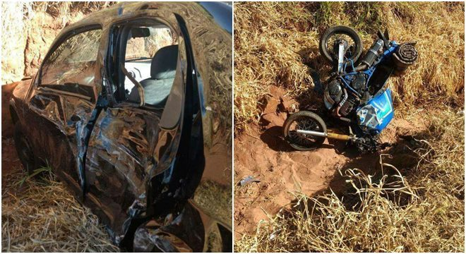 Fotos enviadas por internautas ao IMPACTONEWS mostram o carro e a moto que se envolveram no acidente. Fotos: Whatsapp/Redação
