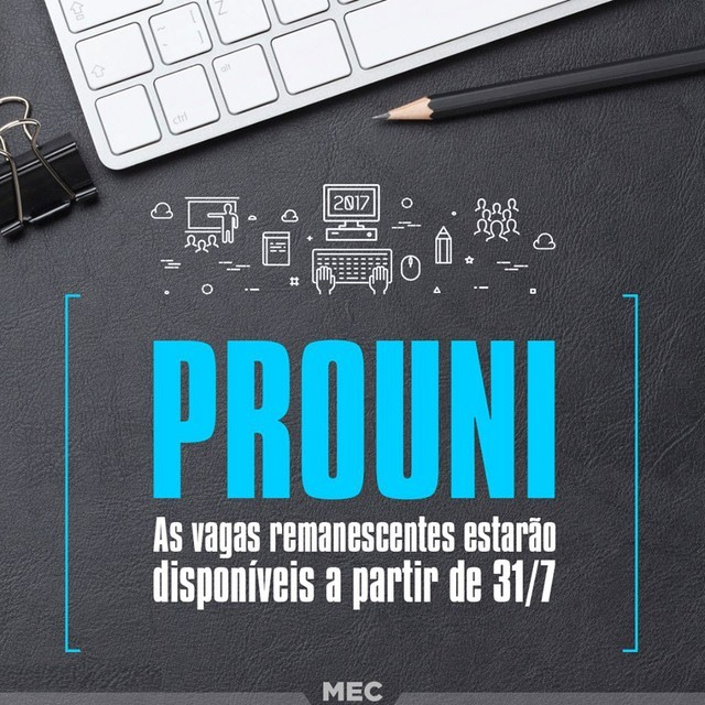 Inscrições para vagas de bolsas de estudo remanescentes do Prouni começam na segunda (Foto: Divulgação/MEC)