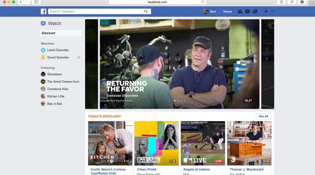 Watch, a Netflix — ou o YouTube — do Facebook na versão para TV (Foto: Divulgação/Facebook)
