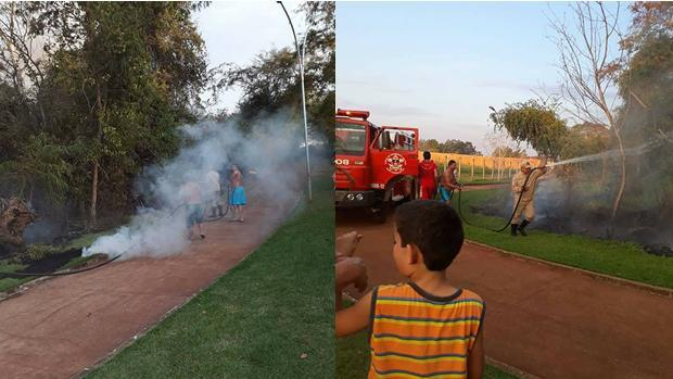 FOTOS: FACEBOOK / LUIZ FERNANDES - Fogo no Bairro BNH - na tarde deste sábado (12)