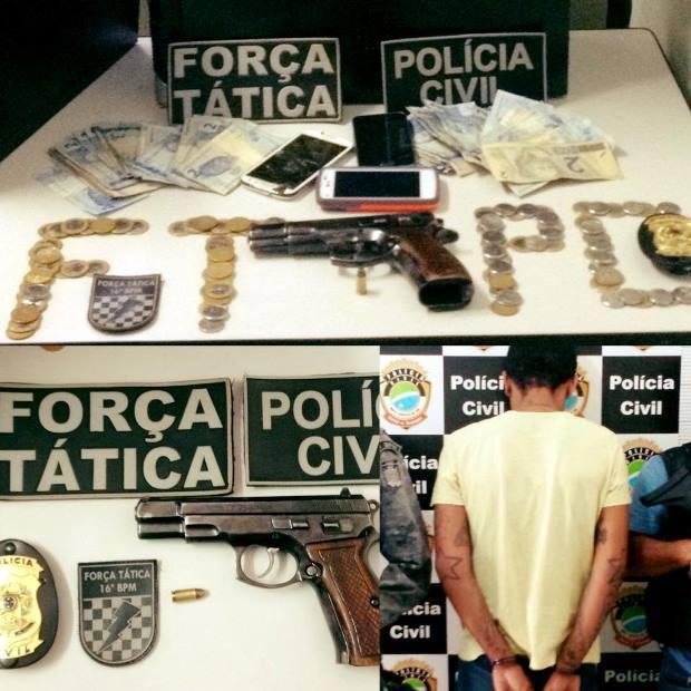 FOTO: ASSESSORIA - Força Tática e Polícia Civil apreendem pistola durante operação em Fátima do Sul
