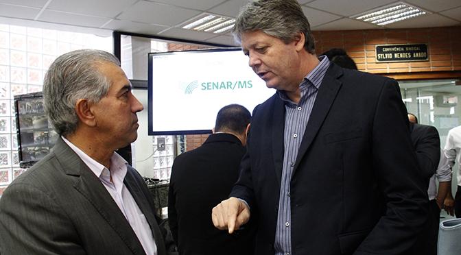 Governador Reinaldo Azambuja e o secretário da Semagro, Jaime Verruck.